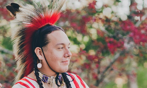 [image of Ben, in Oglala Lakota regalia]